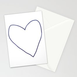 Blue Heart Outline Stationery Cards
