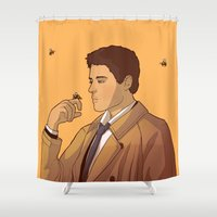 castiel Shower Curtains featuring Castiel & Bees by rdjpwns