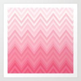 Fading Pink Chevron Art Print