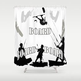 Board Board Board Kitesurfer Shower Curtain