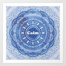 Calming Serenity Blue Mandala Art Print