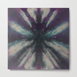 Tie Dye Black Turquoise Purple Metal Print