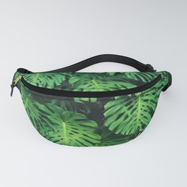 Monstera leaf jungle pattern - Philodendron plant leaves background Fanny Pack