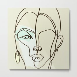 Strong Girl With Earring Metal Print