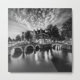 AMSTERDAM Nightscape Keizersgracht and Leidsegracht | Monochrome Metal Print