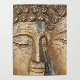 Golden Faces Of Buddha Poster