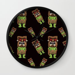 Zombie Tiki Warriors in Midnight Black Wall Clock
