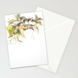 Sparrows and Fall Tree, three birds, brown green fall colors Stationery Cards