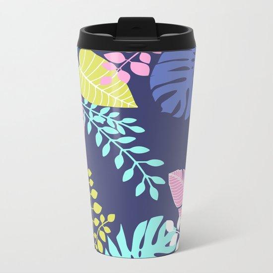 Bold Pastel Jungle Floral Metal Travel Mug