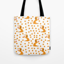 Hand painted orange yellow white polka dots dachshund pattern Tote Bag
