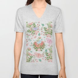 Abstract coral pink green butterfly floral illustration Unisex V-Neck