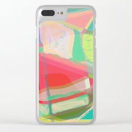 Shapes and Layers no.13 - abstract painting gouache and pastel Clear iPhone Case