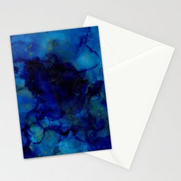 Deep Blue Trip I alcohol ink Stationery Cards