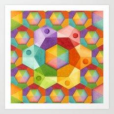 Rainbow Hexagons Art Print