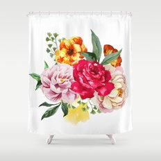 Watercolor Spring Flowers Shower Curtain