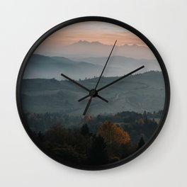 Hazy Mountains - Landscape and Nature Photography Wall Clock