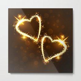 Sparkling 2 hearts Metal Print