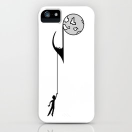 Man hanging on a musical note iPhone Case
