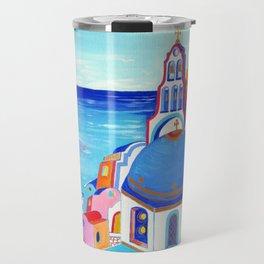 Santorini churches Greek Islands Travel Mug