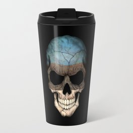 Dark Skull with Flag of Estonia Travel Mug