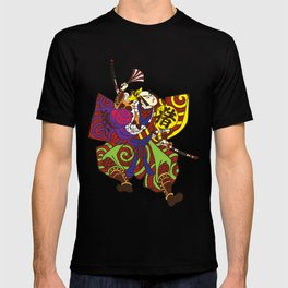 Samurai with vintage japan painting style T-shirt