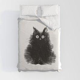 Duster - Black Cat Drawing Duvet Cover