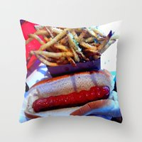 hot dog Throw Pillows featuring hot dog by smilingbug