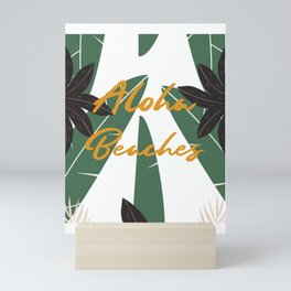Retro Vintage Leaf Aloha Beaches  Mini Art Print