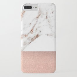 Rose gold marble and foil iPhone Case