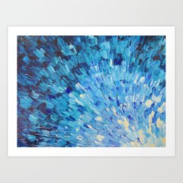 SEA SCALES IN INDIGO - Stunning Ocean Waves Mermaid Fish Navy Royal Blue Marine Abstract Painting Art Print