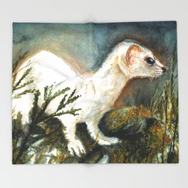 Winter stoat watercolor Throw Blanket
