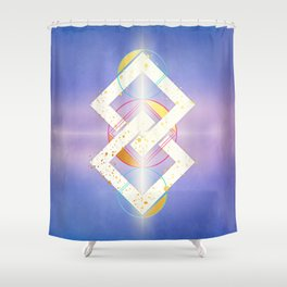 Linked Lilac Diamonds :: Floating Geometry Shower Curtain