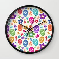 sugar skulls Wall Clocks featuring Sugar Skulls by Emmyrolland