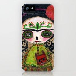 Frida The Catrina And The Devil - Dia De Los Muertos Mixed Media Art iPhone Case