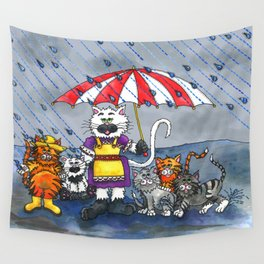 Cats on a Rainy Day Wall Tapestry
