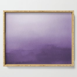 Inspired by Pantone Chive Blossom Purple 18-3634 Watercolor Abstract Art Serving Tray