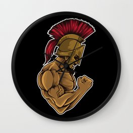 Spartan At The Gym | Training Fitness Muscles Power Wall Clock