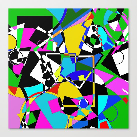 Colour Pieces - Geometric, eclectic, colourful, random pattern of shapes Canvas Print