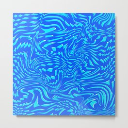 Pattern Blue Mint Abstract Art Chaos Lines Digitalart Gift Metal Print