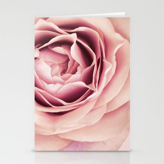My Heart is Safe with You, My Friend - pale pink rose macro Stationery Cards