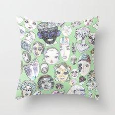 Unfamiliar Faces Throw Pillow