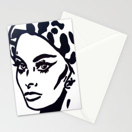 Sophia Loren Black & White Portrait Painting Movie Star  Stationery Cards