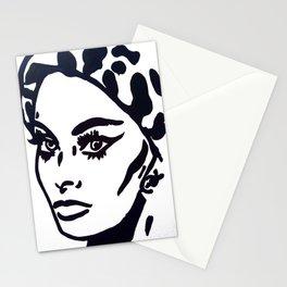 Sophia Loren Black & White Portrait Painting Movie Star  Stationery Cards