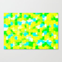 BRICK WALL SMUDGED (Greens, Yellows & Light Blues) Canvas Print