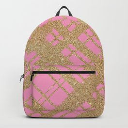 Gold Glitter Plaid on Pink-Graphic Design Pattern Backpack