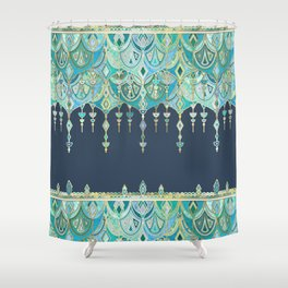 Art Deco Double Drop in Blues and Greens Shower Curtain