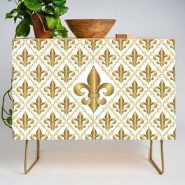 Gold Fleur-de-Lis Pattern Credenza