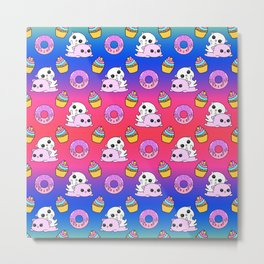 Cute happy playing cuddling funny Kawaii pink baby kittens, sweet pink donuts, yummy colorful cupcakes pretty fantasy bright rainbow design. Nursery decor. Metal Print