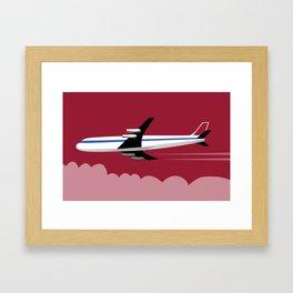 Commercial Jet Plane Airline Retro red Sky Framed Art Print