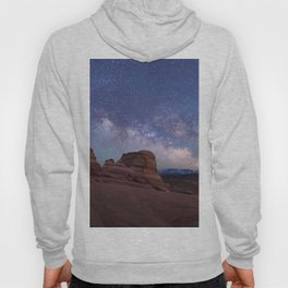 Delicate Arch Under the Starry Sky in Arches National Park Panorama Hoody
